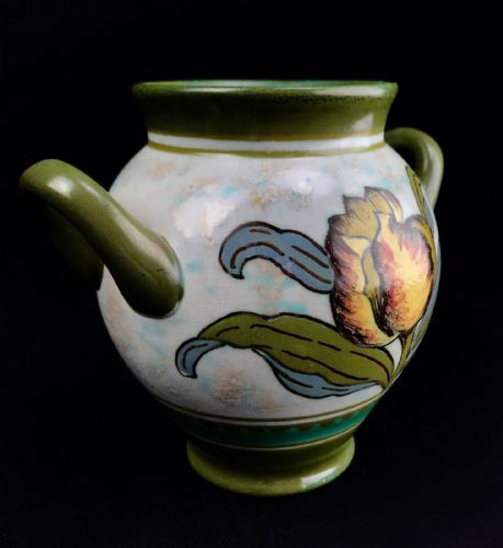 Gouda Pottery Vase / Twin Handled Pot / 1950's Vintage / Green / Yellow Floral